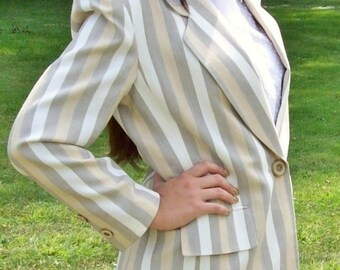 Vintage Ladies Beige & Cream Striped Suit Size 4 by Kasper Only 12 USD