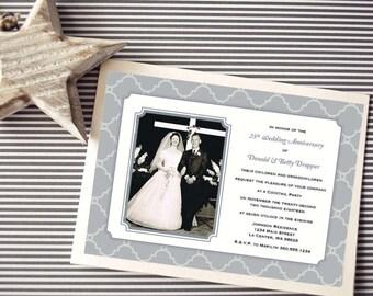 Personalized - 25th Wedding Anniversary Invitation - Silver Quatrefoil - Custom Printable
