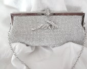 Clutch purse ~ Bridal clutch ~ Silver ~ Crystal Rhinestone ~ BLING ~ Evening bag ~ Prom ~ Beautiful ~ Formal Accessory ~ Brides bag