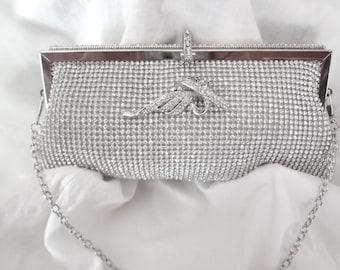 Clutch purse ~ Bridal clutch ~ Silver ~ Crystal Rhinestone ~ BLING ~ Evening bag ~ Prom ~ Beautiful ~ Formal Accessory ~ Brides bag