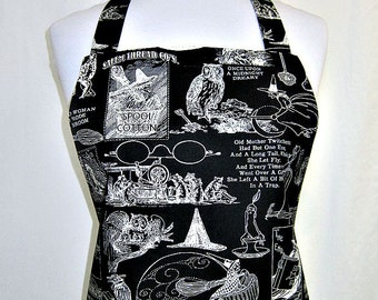 HALLOWEEN Apron, SPOOKY Sights & FIGHTFUL Nites, Black and White, Fun Party Host-Hostess Kitchen Gift