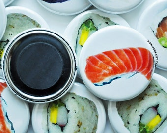 20 Sushi Refrigerator Magnets, Sushi Magnets, I love Sushi Magnets, Stocking stuffer, Sushi Fridge Magnets, Party Favors, Button Magnets