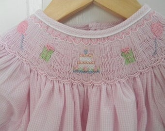 Smocked Birthday Dress Pink Gingham with Presents