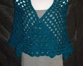 Hand Crocheted Wrap Shawl in Dark Teal