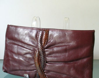 Vintage Burgandy Leather With Snakeskin Detail Clutch