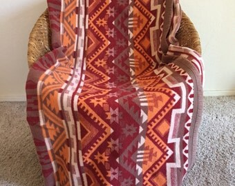 Esmond Camp Blanket / Indian Trade Blanket, Tribal Style Red Orange