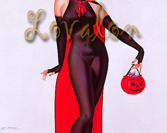 1940's Halloween Witch... Deluxe Erotic Art Print... Vintage Pinup Girl Illustration... Available In Various Sizes