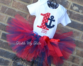 Anchor Themed Birthday Tutu Outfit-Nautical Themed Birthday Tutu Set-Red and Navy Nautical Party Outfit-First Birthday Nautical Outfit