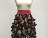 Women's rockabilly tattoo half apron polkadots frilly black red