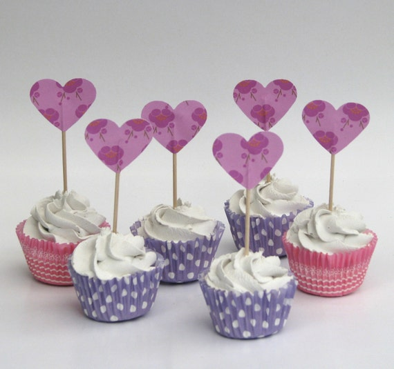 CLEARANCE 50% off - Cupcake topper - food pick - tooth pick hearts pink flowers - 20 pcs