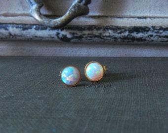 Rainbow Opal Earrings Sterling Silver Opal Earrings Gold Earrings Tiny Round Opal Studs Small Gold Opal Earrings 14K Gold Filled Earrings C1