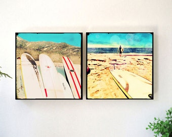 Surfboard Wall Art Set, Retro Surfer Photography Wall Art Wood Block, Surfing Art Photography, Retro Beach, California Art