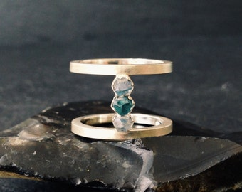 Aqua Aura Quartz Ring - Sterling Silver