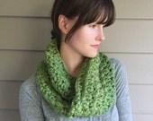 Chunky Crochet Cowl Neckwarmer Scarf   Cilantro Green   Vegan Yarn