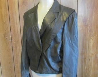 On SALE- 1980's/BERMAN'S/LEATHER Jacket/Vintage/Grey