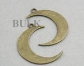 Bulk order Large Crescent Moon Charms Antique Bronze 10pcs zinc alloy pendant beads 32X43mm CM0738B