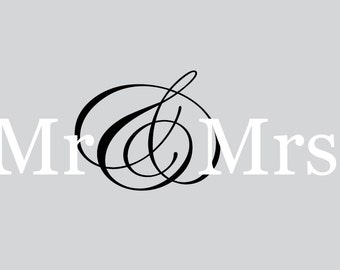 Mr Mrs decal - Vinyl decal - Mr and Mrs decal - Wedding decal - Vinyl wall decal -
