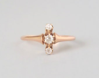 Antique Victorian Diamond Ring. 14k Rose Gold. Dainty Triplet North South Ring. Size 6
