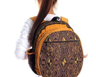 School Backpack With Ethnic Pattern Embroidered Fabric Thailand (BG125-6C39)