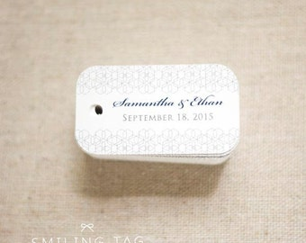 Grey Geometric Wedding Favor Tags - Custom Gift Tags - Personalised Gift Tags Thank you tags Wedding Gift Tags - Set of 40 (Item code: J316)