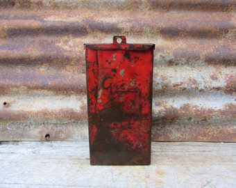 Vintage Metal Industrial Flameless Flare Box Storage Shabby Distressed Steel Box 1940s Era Auto Car Truck Rusted Aged Patina Chippy RED