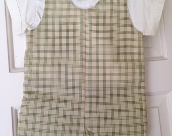 Vintage 1950s Toddler Boys Peter Piper Plaid Short Coveralls Shirt Set 12 Months