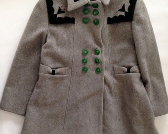 Vintage 1940s Girls' Grey Wool Swing Coat Emerald Velvet Trim Size 6