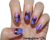 Palm Tree real nail polish strips. Nail decal wraps. TWO SETS