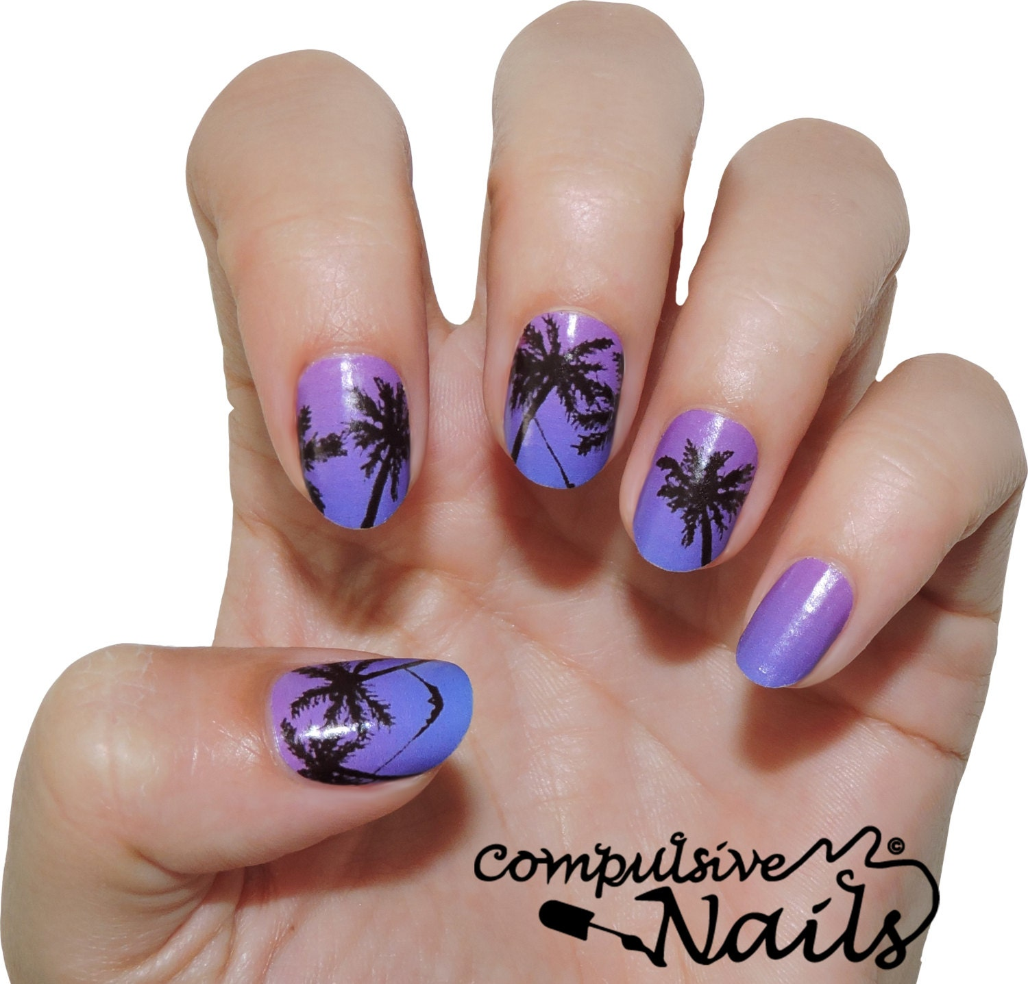 Palm Tree Real Nail Polish Strips Nail Decal Wraps Two Sets