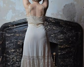 Love And Lace 1950s Vintage Van Raalte Opaquelon Lace Calf Length Wedding Bridal Cream Slip Dress With Adjustable Straps Sz Medium