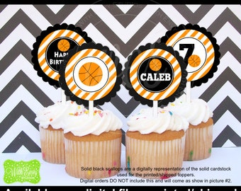 Basketball Cupcake Toppers - Basketball Party Circles - Sports Toppers - Sports Cupcake Toppers - Digital and Printed Availale