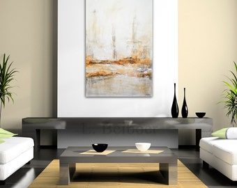 24 x 36 Large original modern abstract painting contemporary art sienna wall art abstract painting by L.Beiboer