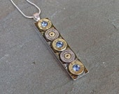 9mm Bullet Necklace in Swarovski Light Sapphire Hornady and Federal Clearance Sale