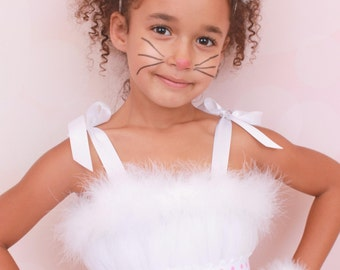 MADE TO ORDER: Mischievous Mittens - Halloween Costume - Cat or Kitten Ears Headband - White and Pink - Fits toddler to adult