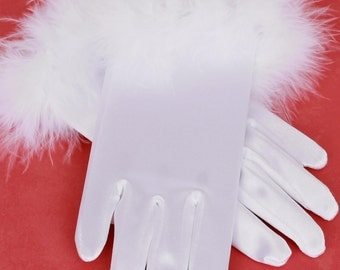 READY TO SHIP: Mischievous Mittens - White - Fur Trimmed Satin Wrist Gloves - Cat or Kitten Halloween Costume Accessory - Fits 0-3 4-7 Years