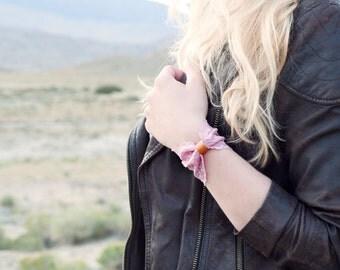 Lace Bow Bracelet Cuff, Wide Pink Bowtie, Vegan Leather Jewelry Cuff Womens, Stretch Tie Wrist Accessory Bracelet, Wrist Tattoo Cover Up