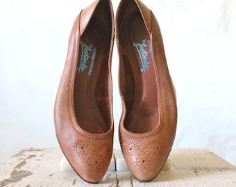 Vintage 70's Caramel Leather Heels Sz 7M