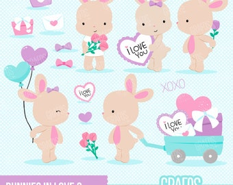 BUNNIES IN LOVE 2 - Digital Clipart Set, Bunnies Clipart, Valentine Clipart, Rabbits Clipart,