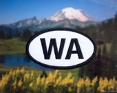 """Washington WA Patch - Iron or Sew On - 2"""" x 3.5"""" - Embroidered Oval Appliqué - Evergreen State - Black White Hat Bag Accessory Handmade USA"""