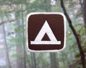 """Tent Camping Patch - Iron or Sew On - 2.5"""" - Embroidered Square Appliqué - Brown Outdoor Recreation Activity Park Sign - Hat Bag Accessory"""