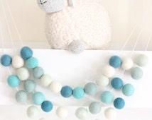 Mint Felt Ball Garland- Boy Nursery Decor- Garland-Pom Pom Bunting- Blue/green Baby Shower Decor- Pastel Mint Teal Decor-Ombre Mint Nursery