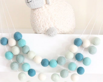 Mint Felt Ball Garland- Boy Nursery Decor- Garland-Pom Pom Bunting- Blue/green Baby Shower Decor- Pastel Mint Teal Decor-Ombre Mint Nursery