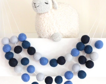 Navy Garland- Nursery Decor- Blue Navy Felt Ball Garland-Pom Pom Bunting- Baby Shower Decor- Navy Nursery- Nautical Bunting -Boy Garland
