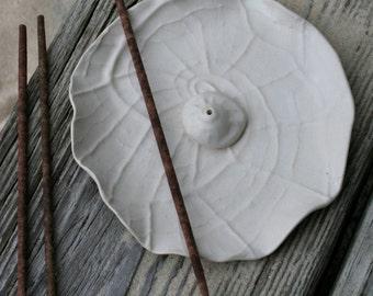 nautilus incense burner, made to order, incense tray, shell incense holder, minimal zen, yoga gift, matte white, coastal living, home decor