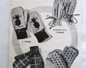 Vintage 40s Children's Mittens Knitting Pattern Bestway 1252 sizes 18 months to 4 Years Pussy Cat Design