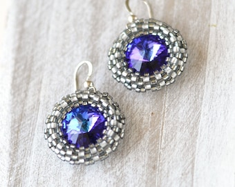 Purple Blue Rivoli Earrings, Beaded Swarovski Crystal Earrings, Purple Round Earrings, Sterling Silver Earrings, Seed Beads Dangle Earrings