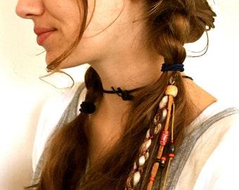 Feather Hair Clip//Hippie hair wrap// Feather hair extensions//Faux dread locks//Dreadlock//Bun ring//Bun wrap//Hair accessories