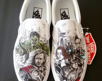 Avengers comic themed shoes with Hulk, Black Widow, Nighthawk, Iron Man, Thor, Loki, Captain America ARTWORK and SHOES INCLUDED