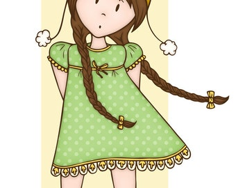 Windy Day Cutie Pie - 8x10 Art Print - girl, nursery, brown hair, braids, wind, spring day, green, yellow, baby's room, red shoes, cheerful