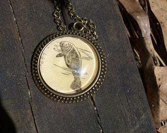 Manatee Necklace--Marine Biology Conservation Gift--Vintage Dictionary Print Handmade Jewelry
